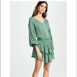 Free People The Romy Mini Dress Green Sz Medium